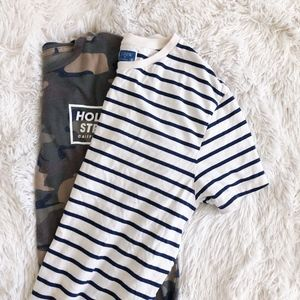 J. CREW MENS blue+white stripped crew neck tee